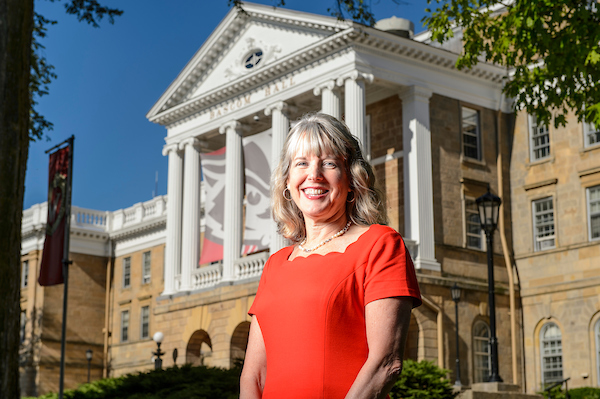 Lori Reesor, vice chancellor for student affairs, standing front of Bascom Hall.